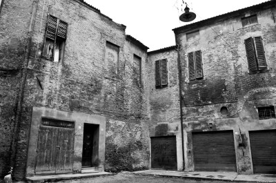 Ferrara foggy old town