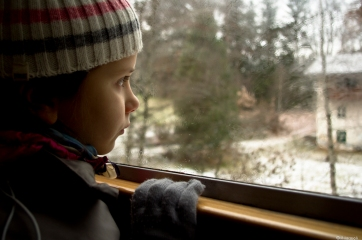 matilde on the train in the forest-3