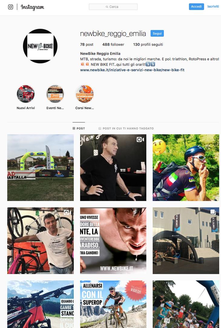 Profilo instagram New Bike Reggio Emilia